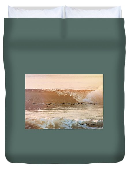 Big Blue Ocean Quote Duvet Cover