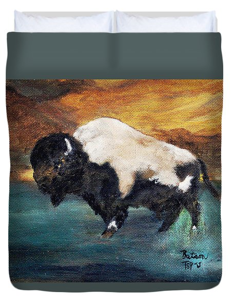 Duvet Cover featuring the painting Big Boy Buffalo by Barbie Batson