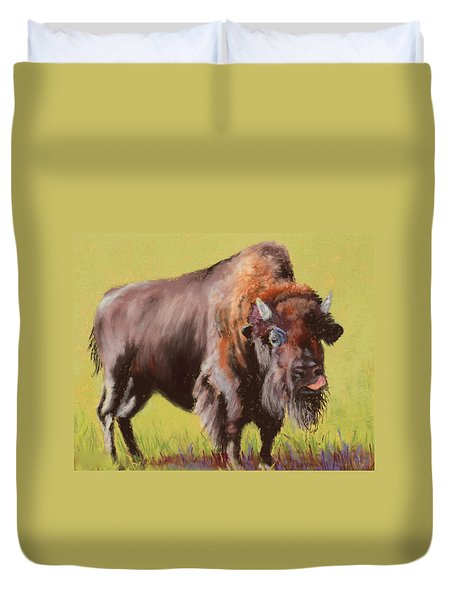 Duvet Cover featuring the painting Big Boy by Nancy Jolley