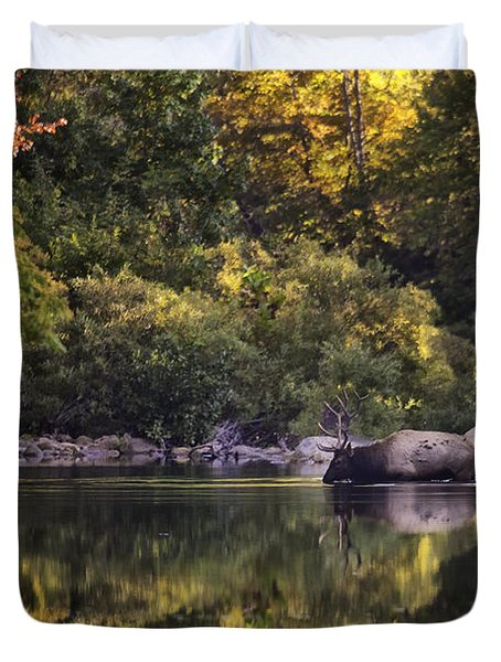 Big Bull In Buffalo National River Fall Color Duvet Cover