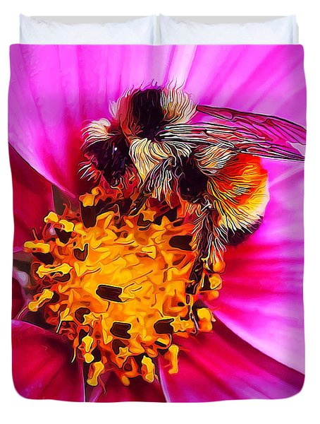 Big Bumble On Pink Duvet Cover
