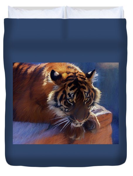 Big Cat In Chalk Duvet Cover