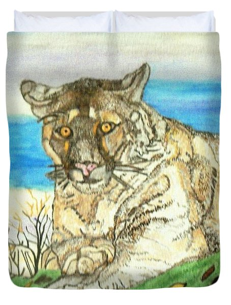 Big Cat Watching Out For Prey Duvet Cover by Connie Valasco