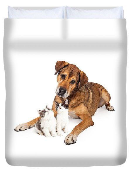 Big Dog Looking Down At Kittens Duvet Cover