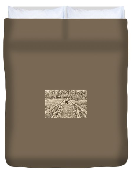 Duvet Cover featuring the photograph Big Dog by Margaret Palmer