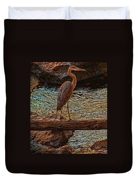 Big Falls Blue Heron Duvet Cover by Trey Foerster