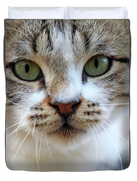 Duvet Cover featuring the photograph Big Green Eyes by Munir Alawi