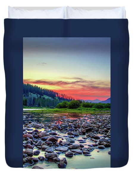 Big Hole River Sunset Duvet Cover