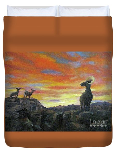 Big Horn Sheep At Sunset Duvet Cover