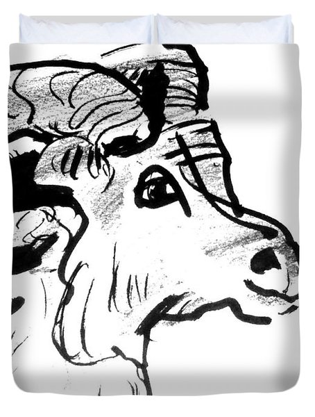 Big Horn Sheep  Sketch Duvet Cover