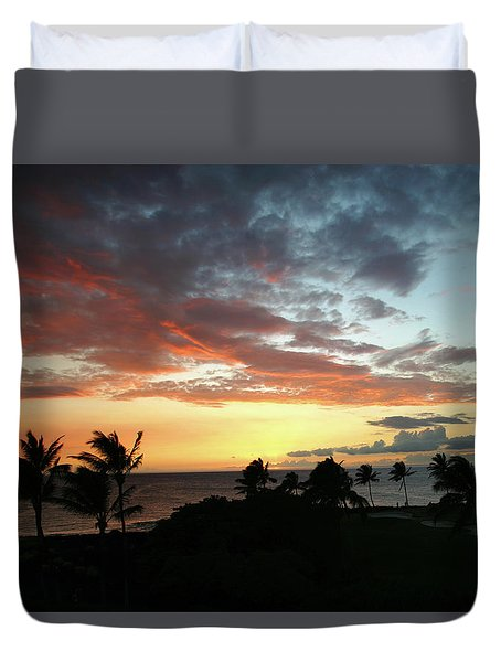 Duvet Cover featuring the photograph Big Island Sunset #2 by Anthony Jones