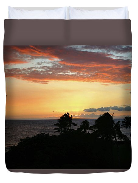 Duvet Cover featuring the photograph Big Island Sunset by Anthony Jones