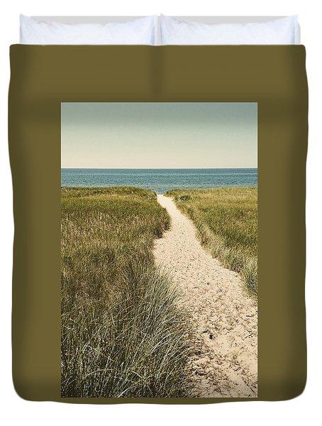 Duvet Cover featuring the photograph Big Lake Beach Path by Michelle Calkins