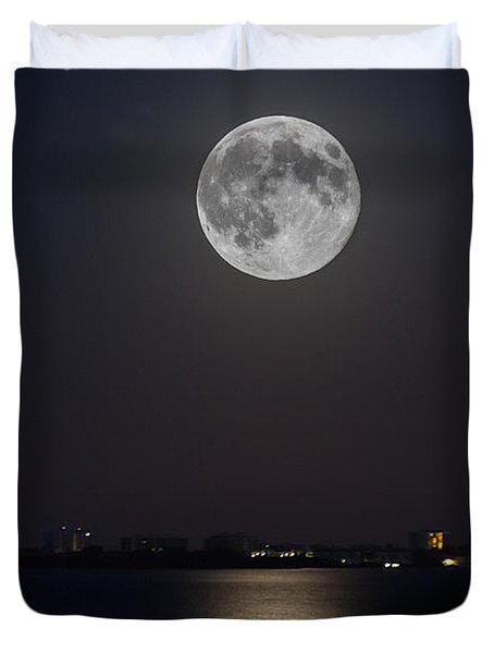 Big Moon Over The Bay Duvet Cover
