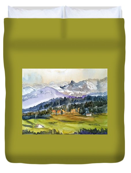 Big Mountain Sunset Duvet Cover
