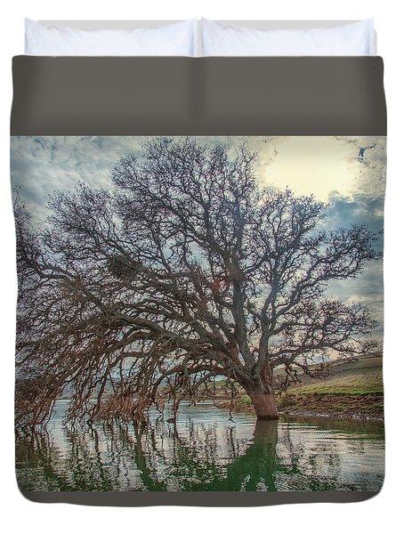 Big Oak In Water Duvet Cover