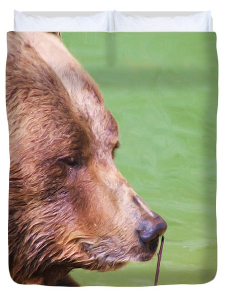 Big Old Bear With A Tiny Stick Duvet Cover by Karol Livote