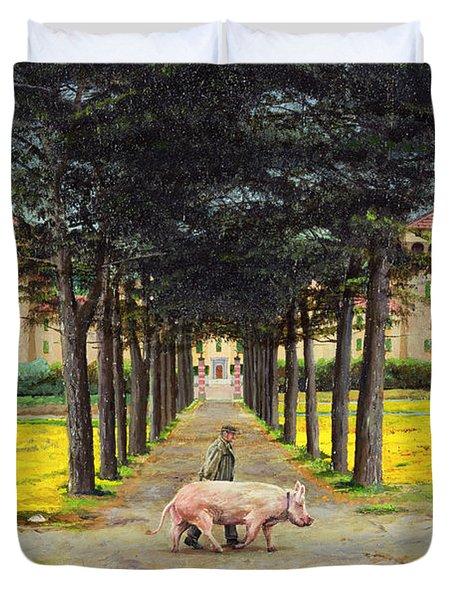 Big Pig - Pistoia -tuscany Duvet Cover by Trevor Neal