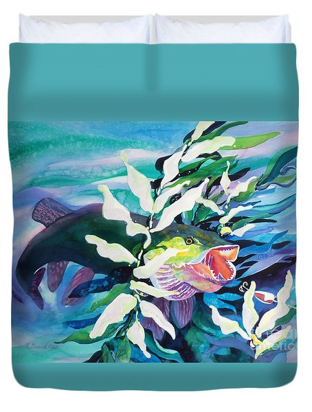 Big Pike On The Hunt Duvet Cover by Kathy Braud