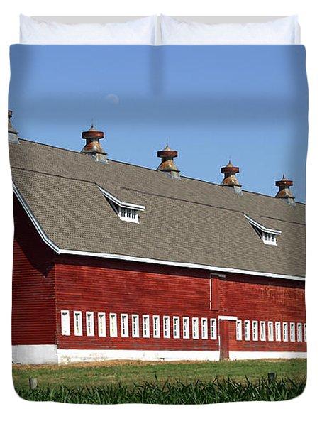 Big Red Barn In Spring Duvet Cover