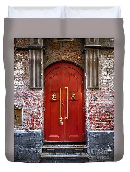 Duvet Cover featuring the photograph Big Red Doors by Perry Webster
