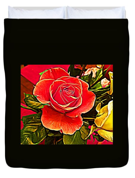 Big Red Rose Duvet Cover