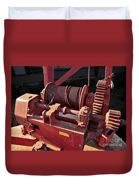 Duvet Cover featuring the photograph Big Red Winch by Stephen Mitchell