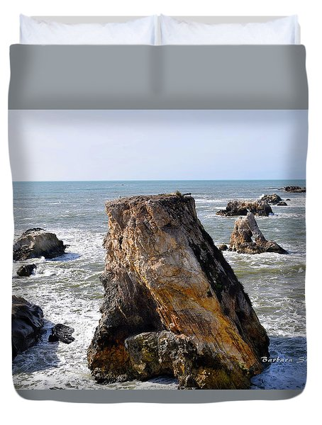 Duvet Cover featuring the photograph Big Rocks In Grey Water by Barbara Snyder