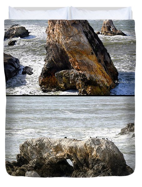 Duvet Cover featuring the photograph Big Rocks In Grey Water Duo by Barbara Snyder