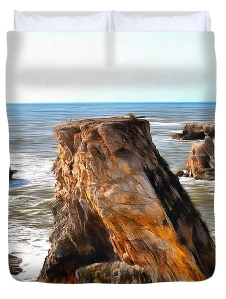 Duvet Cover featuring the photograph Big Rocks In Grey Water Painting by Barbara Snyder