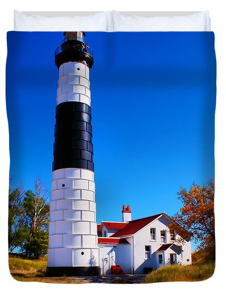 Big Sable Point Lighthouse Duvet Cover by Nick Zelinsky