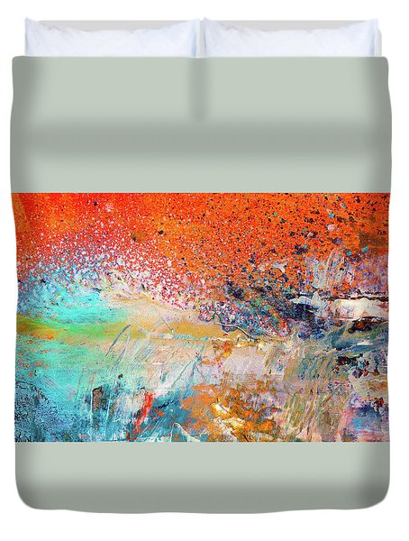 Big Shot - Orange And Blue Colorful Happy Abstract Art Painting Duvet Cover