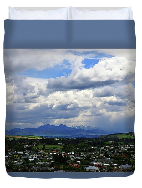 Big Sky Over Oamaru Town Duvet Cover