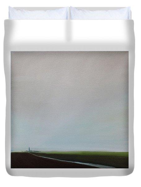 Duvet Cover featuring the painting Big Sky by Tone Aanderaa