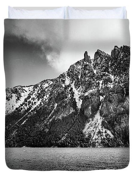 Big Snowy Mountain In Argentine Patagonia - Black And White Duvet Cover