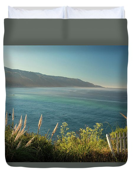 Duvet Cover featuring the photograph Big Sur At Lucia, Ca by Dana Sohr
