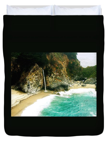 Big Sur Waterfall Duvet Cover by Jerome Stumphauzer
