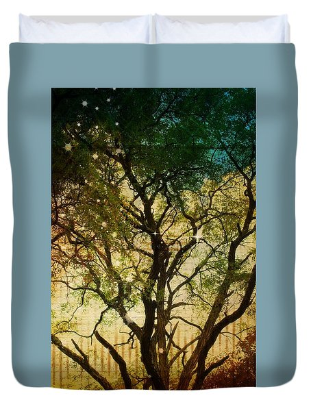 Duvet Cover featuring the photograph Big Tree In The Sunlight by Robin Regan