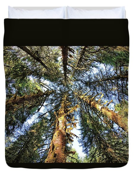 Big Trees In Olympic National Park Duvet Cover