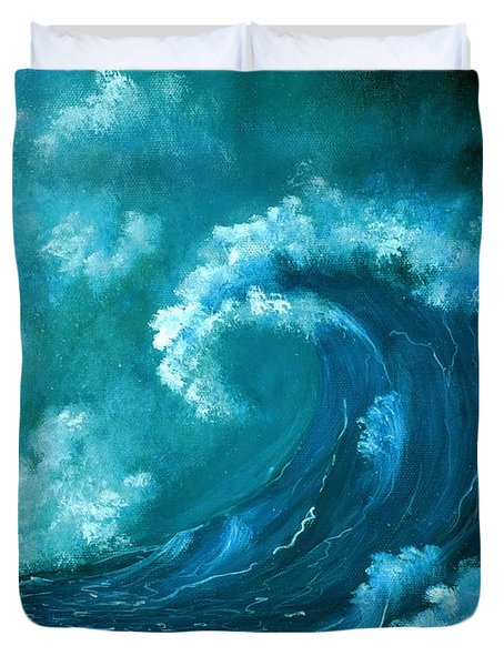 Duvet Cover featuring the painting Big Wave by Anastasiya Malakhova
