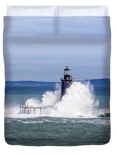Big Wave Hits Ram Island Ledge Light Duvet Cover
