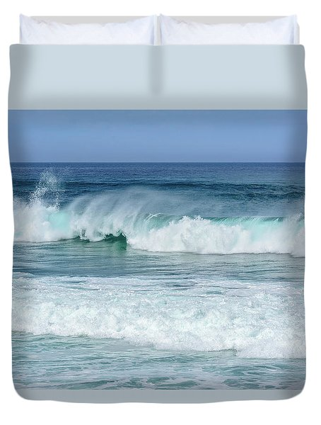 Duvet Cover featuring the photograph Big Waves by Marion McCristall