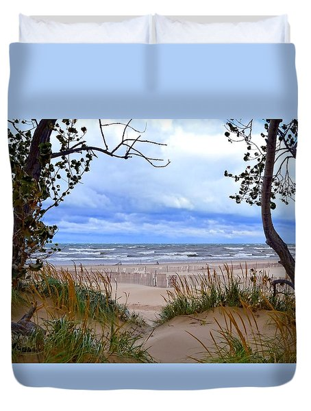 Big Waves On Lake Michigan 2.0 Duvet Cover by Michelle Calkins