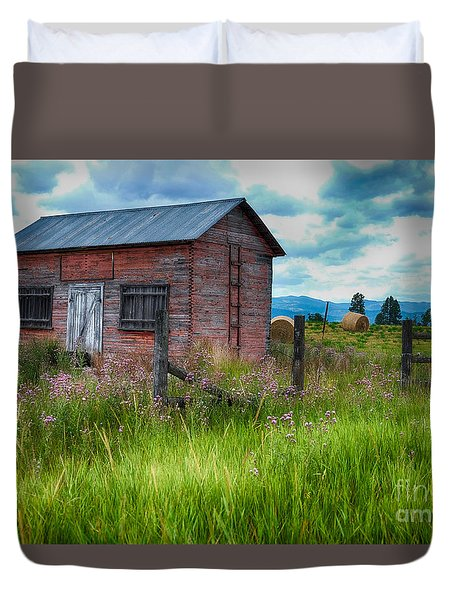 Duvet Cover featuring the photograph Bigfork Farm Shed by Vinnie Oakes