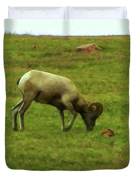 Duvet Cover featuring the digital art Bighorn Sheep Grazing by Chris Flees