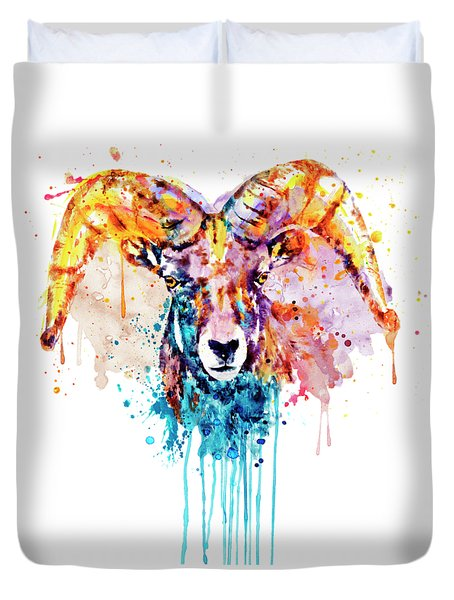 Bighorn Sheep Portrait Duvet Cover