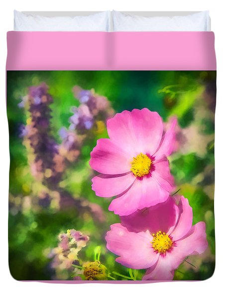 Bright Pink Cosmos Duvet Cover by Eleanor Abramson