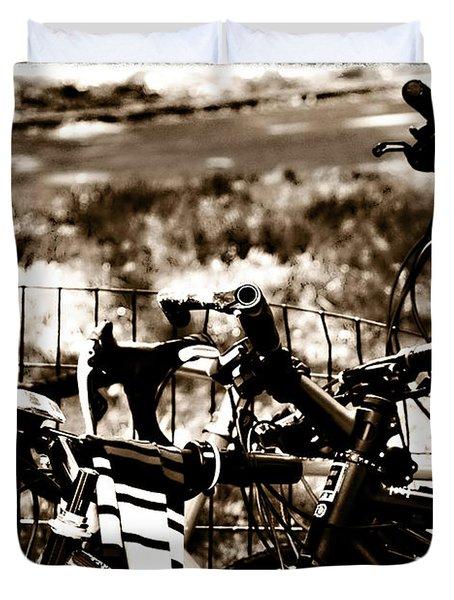 Bike Against The Fence Duvet Cover by Madeline Ellis