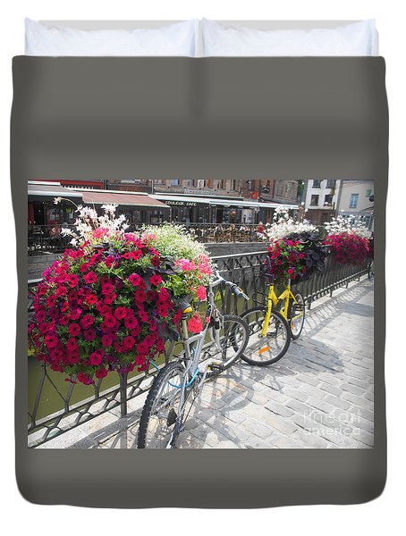 Duvet Cover featuring the photograph Bike And Flowers by Therese Alcorn