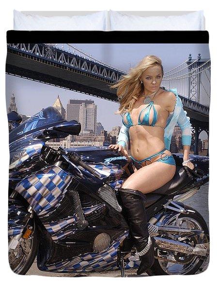 Bike, Babe, And Bridge In The Big Apple Duvet Cover